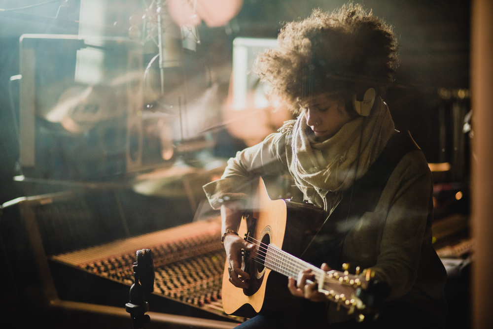 Chastity Brown in the recording studio
