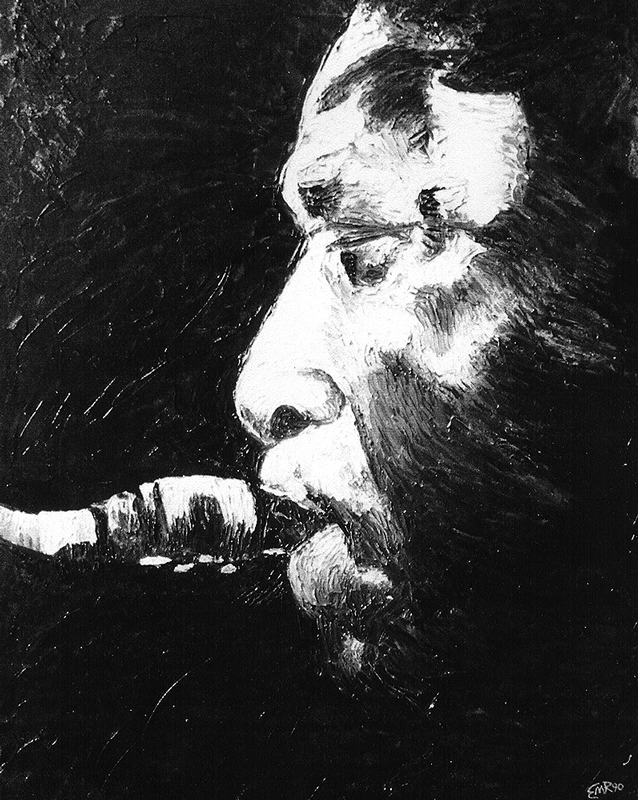 """Coltrane"", Black and White Oil on Canvas 1990 - SOLD Mosadi's Art Gallery, Taos, NM $2,000.00"