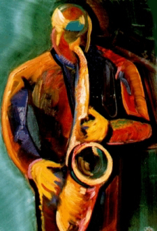 """Saxman"", Oil on Canvas 1990   - SOLD Mosadi's Art Gallery, Taos, NM $1,700.00"