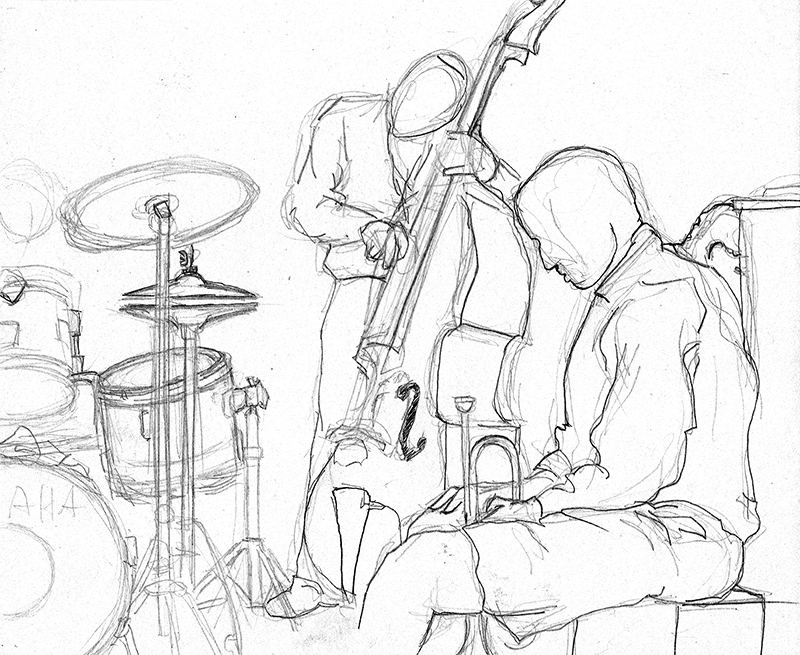 """The  Pharez Whitted  Trio"" at the Chatterbox, Indianapolis (Late 1980s) Live Pencil Drawing"