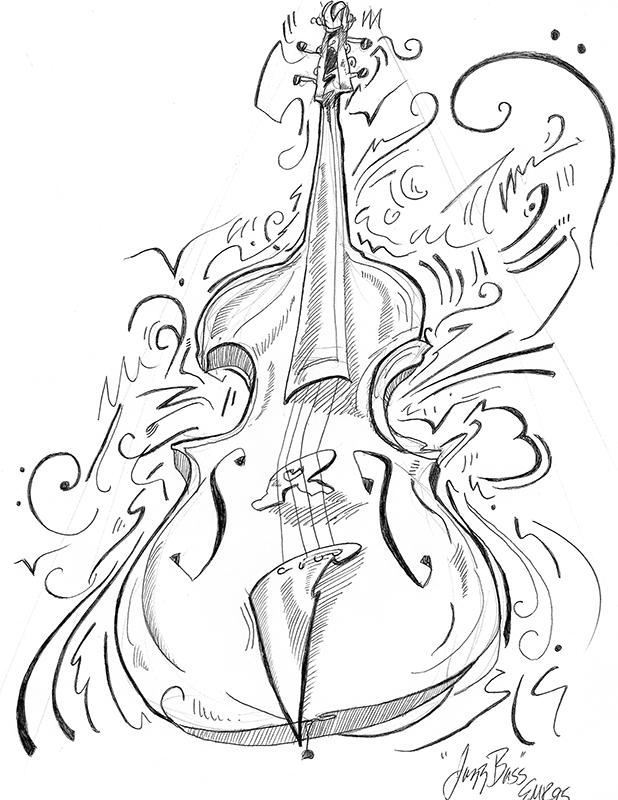 """Bass"" Pencil Drawing 1995"