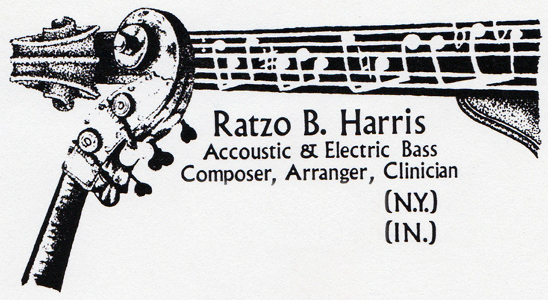 """Business Card for Jazz Bassist   Ratzo B. Harris  "", pen and ink, typesetting (by hand), 1989 (Yes, back before computers!)"
