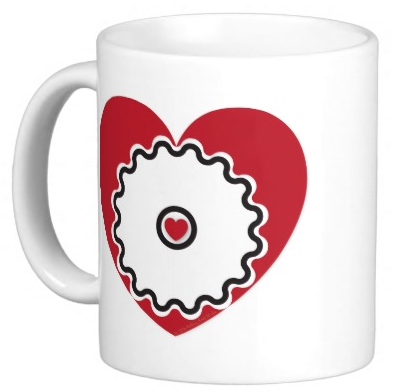 Cyclist @ Heart Coffee Mug (Design on both sides.)