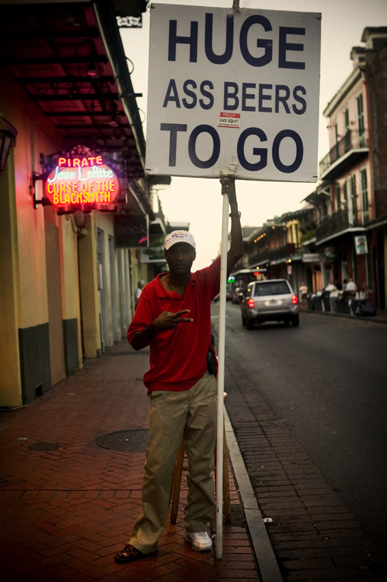Huge ass beers to go, two weeks after Katrina,Bourbon Steet, New Orleans