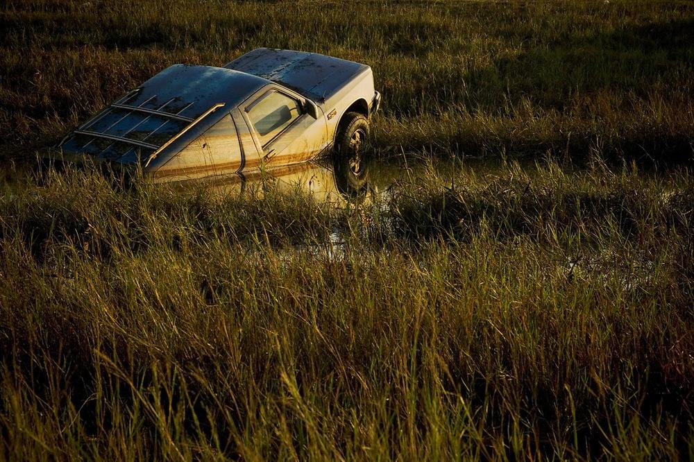 Flood-tossed truck, Waveland, Mississippi