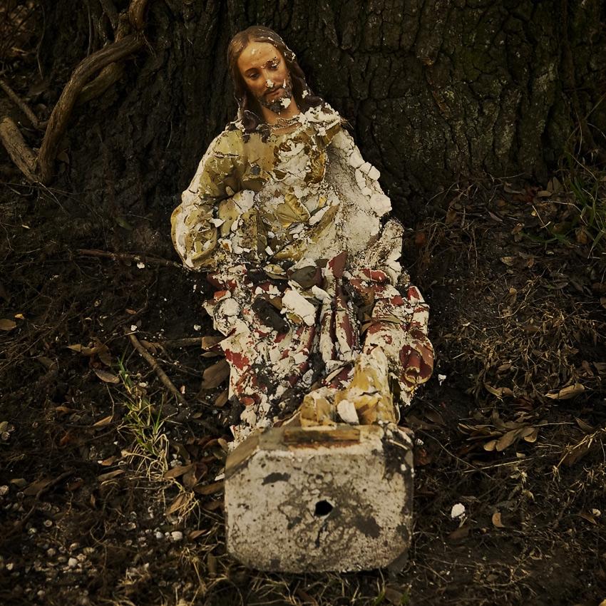 Shattered Jesus statue, Pearlington, Mississippi