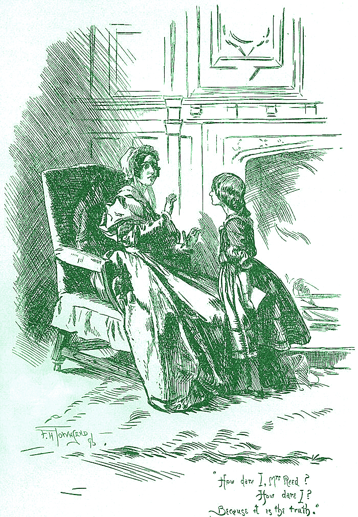 "Townsend, F. H. ""How dare I, Mrs Reed? How dare I? Because it is the truth.""  1847. Illustration from the second edition of Jane Eyre. U.S. public domain via Wikimedia Commons."