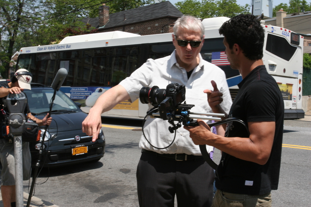 Neal Hemphill directing, with cinematographer Ramazan Nanayev