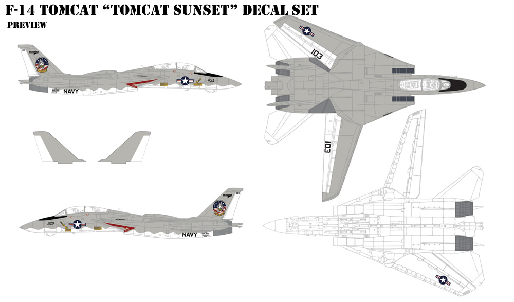 F-14 Tomcat Sunset Decals
