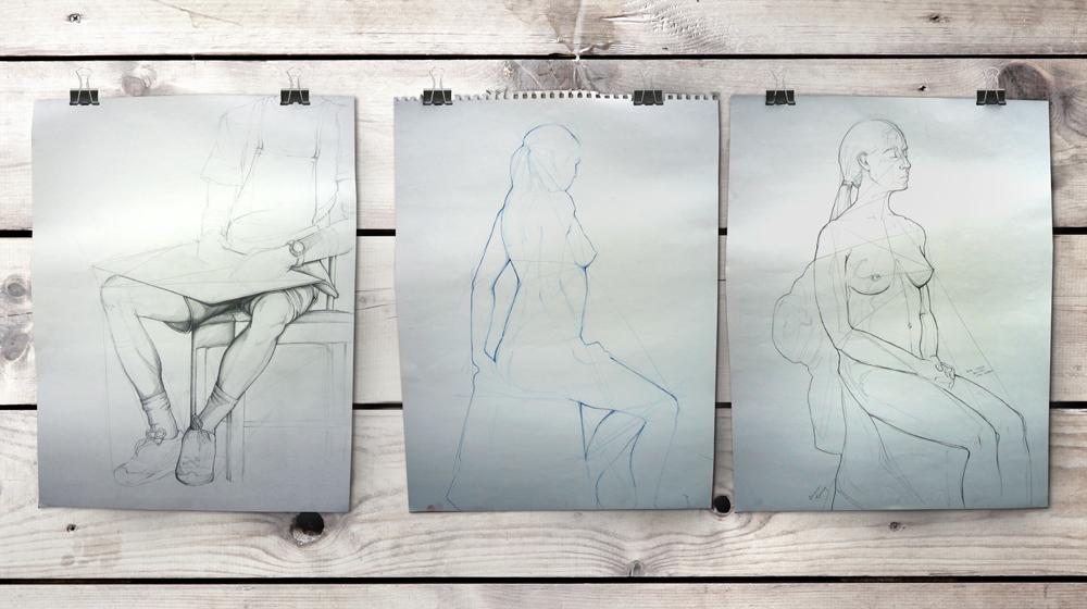 Figure sketches, prisma color and graphite