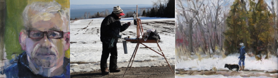J. Allison Robichaud: his self portrait; the dedicated artist at work; a fleeting moment captured by his brush. Click on the pictures to view our gallery of J. Allison's works, available for online purchase.