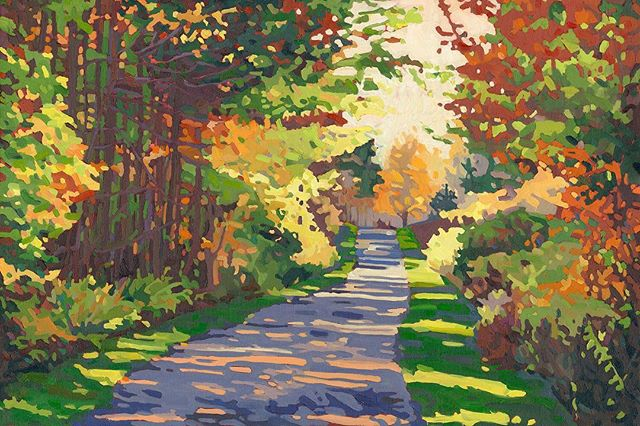 "Fall is not far behind and ""Idyllic Fall"" sold today to a customer who wanted to enjoy the memory and the warmth of this painting. #feelingblessed . Available in prints and other great merchandise and poly chiffon scarves are coming. . . . #artist #landscape #oiloncanvas #sold #gallery #fall #memory #warmth #warmcolours #road #countryroad #huroncounty #originalart #madebyme"