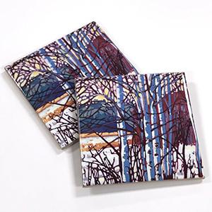 "Brilliant Birch 4"" Ceramic Tile Coaster $10 ea or set of 4 for $35"