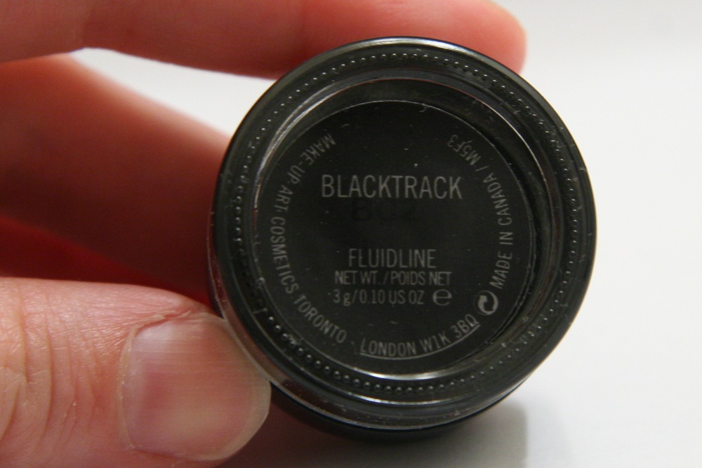 MAC Fluidline gel eyeliner in Blacktrack. You get three grams of product, which is plenty. A jar lasts me five months or so of almost daily use.