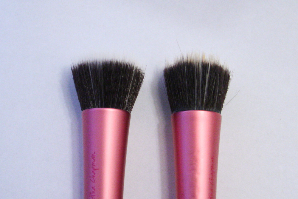 Real Techniques Stippling Brushes. Left: new. Right: A year old.
