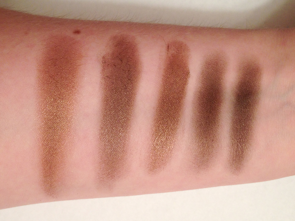Comparison swatches (left to right): MAC Mulch, MAC Constructivist, MAC Eclair, MAC Friendly, and Brown from Annabelle's Chai Chai Chai quad.