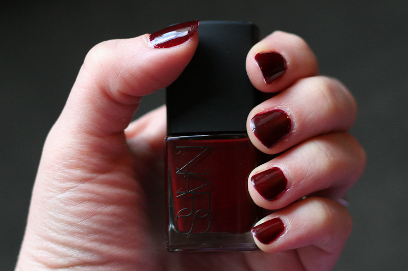 Three coats of NARS Nail Polish in Chinatown (plus base coat and top coat).
