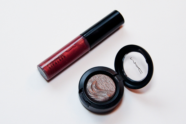 My picks from MAC's new Metallic Nude Collection, Lipglass in Hellbound and Extra Dimension Eyeshadow in Silver Dawn.