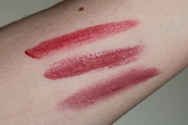 Comparison swatches (top to bottom): Revlon Colorburst Lacquer Balm in Entice, MAC Lipglass in Hellbound, and MAC Lustre Lipstick in Oh, Oh, Oh.