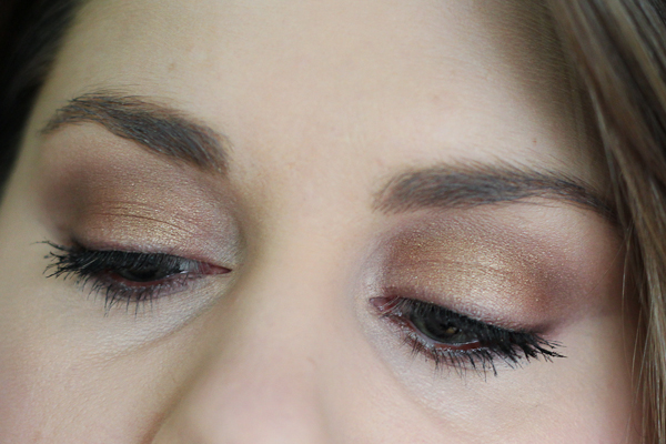 An eye look with MAC Woodwinked and Mulch eyeshadows.