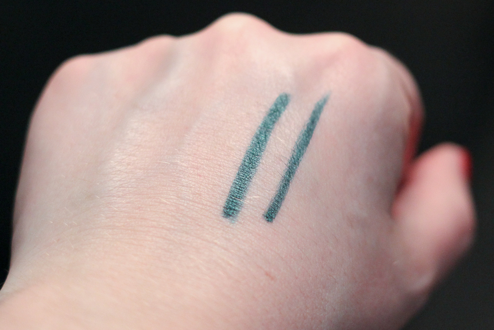 Make Up For Ever Artist Liner in Iridescent Green Tree (I-34), swatched. Left is two passes, right is one pass.