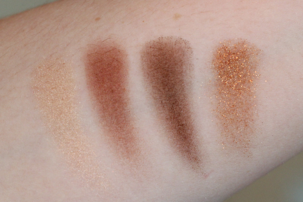 Charlotte Tilbury Dolce Vita swatches. Left to right: Prime, enhance, smoke and pop.