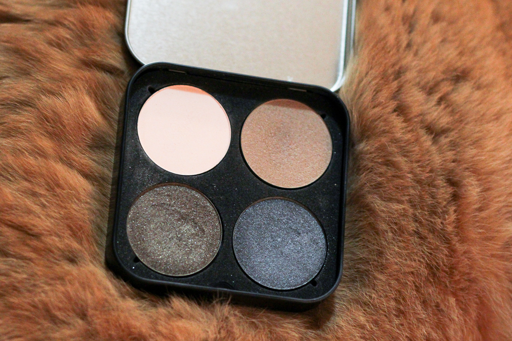 Clockwise from the top left: Make Up For Ever Artist Shadows in M-532, S-642, ME-108 and D-320.