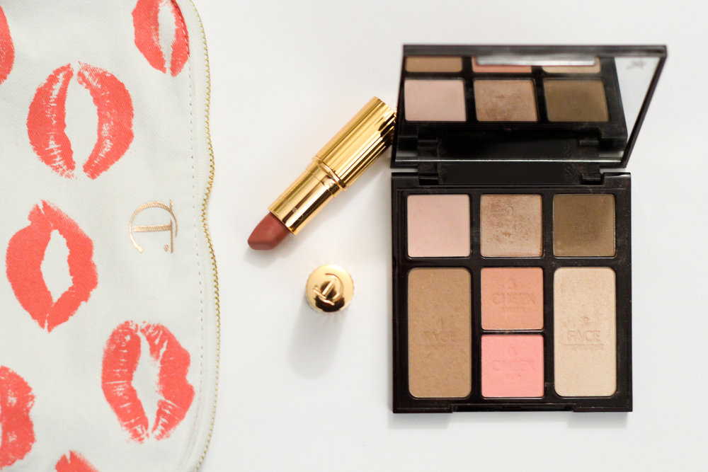 Charlotte Tilbury's Matte Revolution Lipstick in Pillow Talk and Instant Look in a Palette.