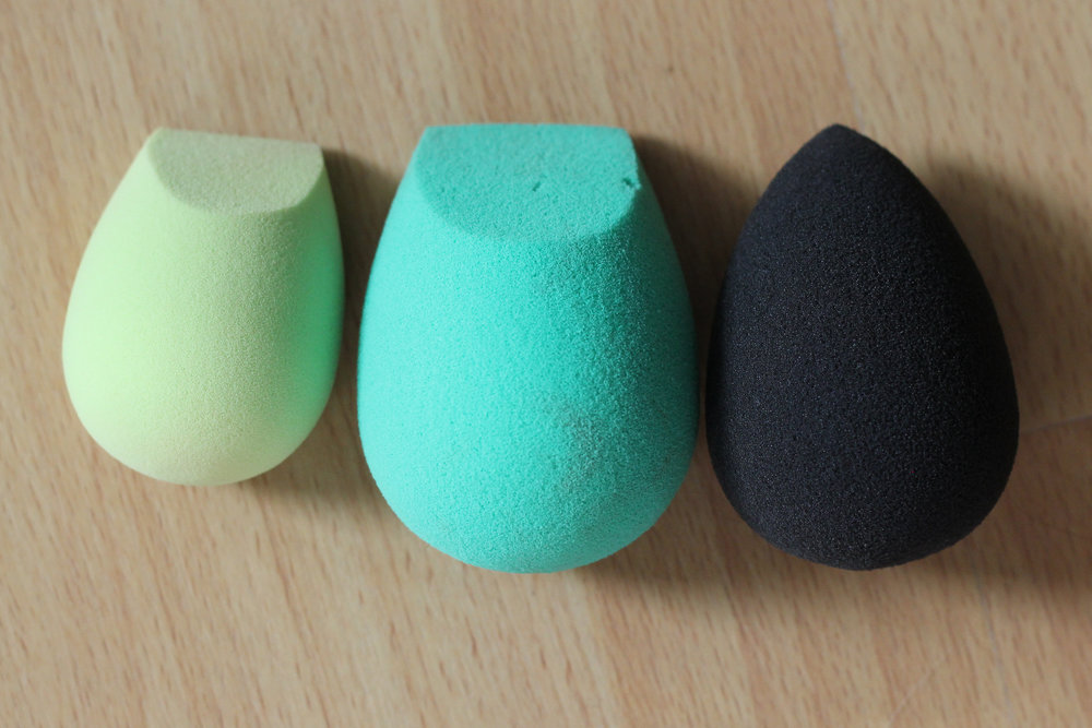 Left to right: The Ecotools concealer sponge and foundation sponge, and the BeautyBlender Pro.