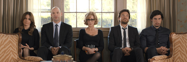 (From left to right) Tina Fey, Corey Stoll, Jane Fonda, Jason Bateman, and Adam Driver are not amused {Photo: WARNER BROS}