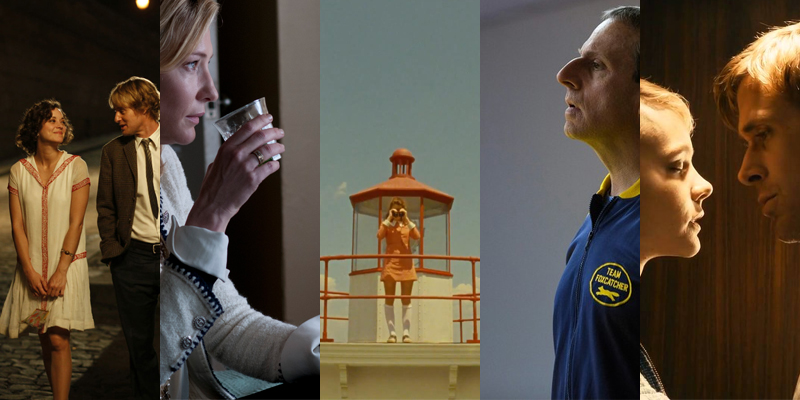 (From left to right) Woody Allen's  Midnight in Paris  and  Blue Jasmine , Wes Andereson's  Moonrise Kingdom , Bennett Miller's  Foxcatcher , and Nicolas Winding Refn's  Drive .