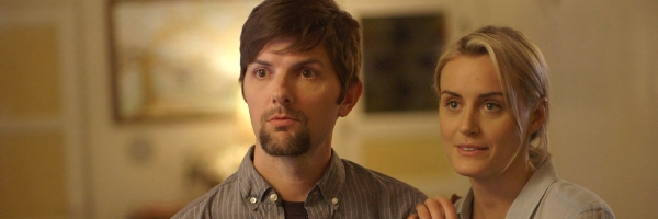 Adam Scott and Taylor Schilling in a scene from Patrick Brice's The Overnight {Photo: THE ORCHARD}