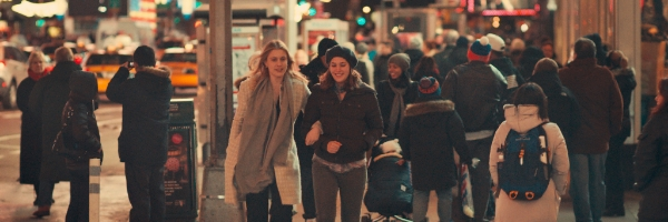 Greta Gerwig and Lola Kirke in a scene from Noah Baumbach's Mistress America {Photo: FOX SEARCHLIGHT}
