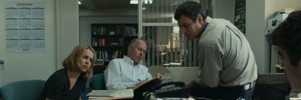 Rachel McAdams, Michael Keaton, Mark Ruffalo, and Brian d'Arcy James in a scene from Thomas McCarthy's  Spotlight  {Photo: OPEN ROAD PICTURES}