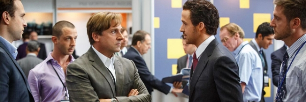 Steve Carell and Ryan Gosling in a scene from Adam McKay's  The Big Short  {Photo: PARAMOUNT PICTURES}