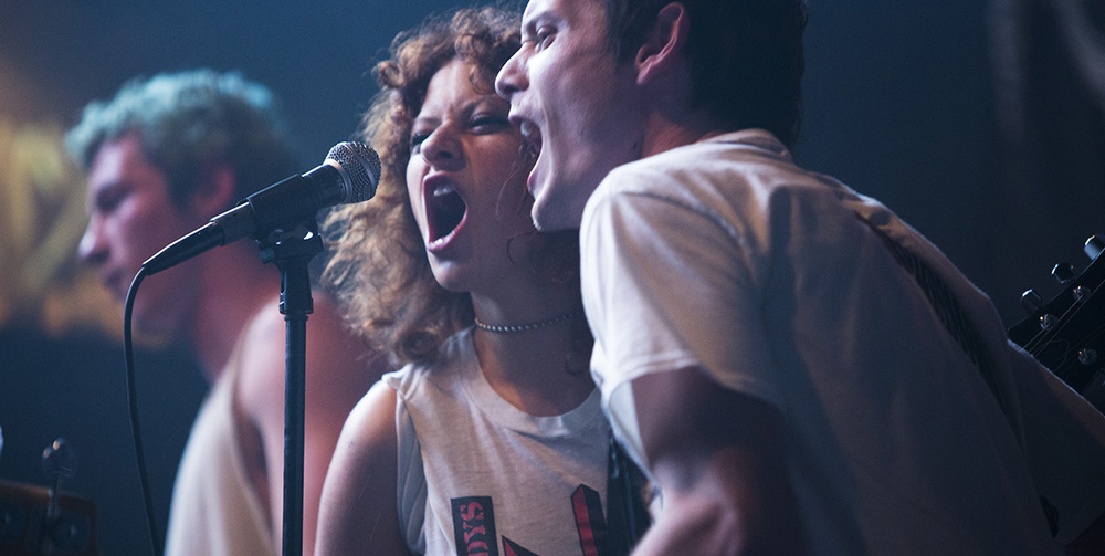 Alia Shawkat and Anton Yelchin in a scene from Jeremy Saulnier's  Green Room  {Photo: A24}