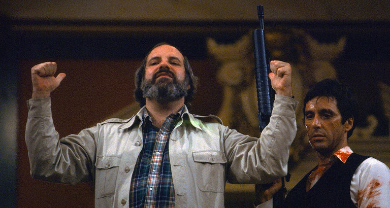 Brian De Palma directing a scene in Scarface, part of the archival footage seen in Noah Baumbach and Jake Paltrow's De Palma {Photo: A24}