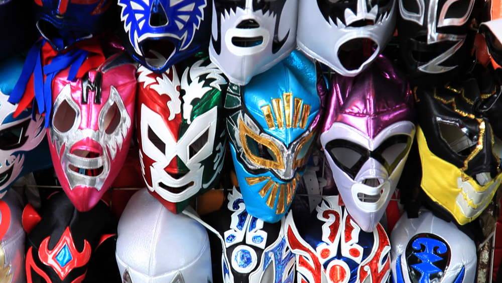 An array of lucha libre masks seen in Alex Hammond and Ian Markiewicz'  Lucha Mexico  {Photo: KINO LORBER}