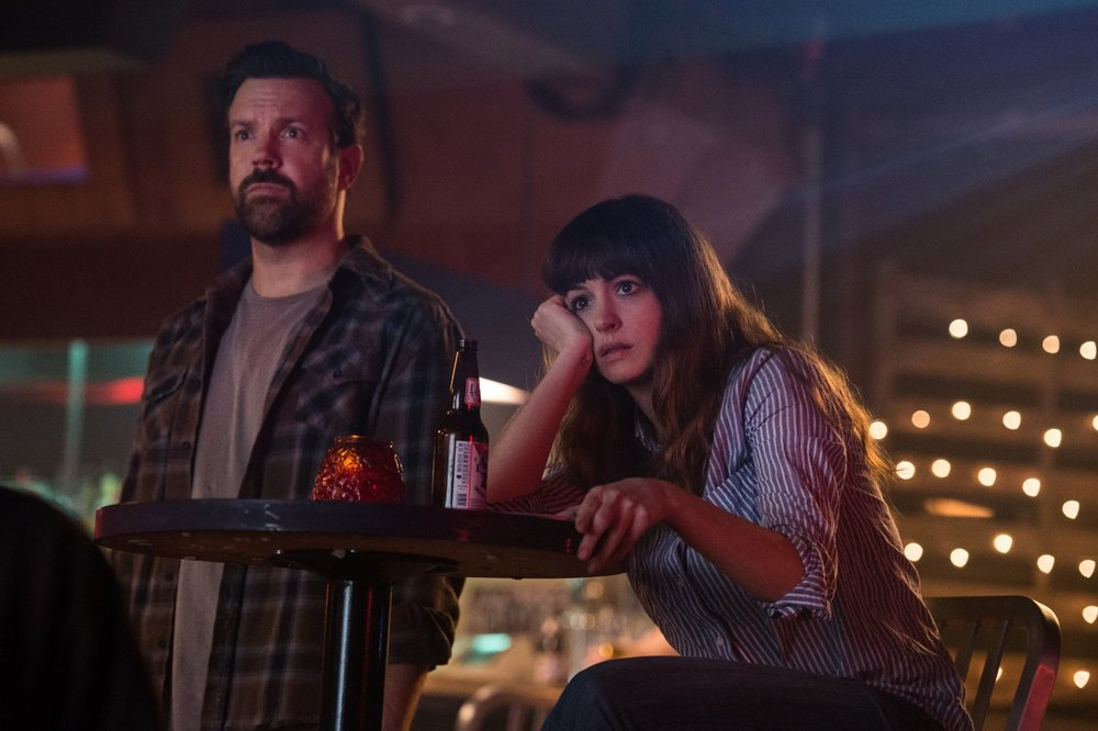 Jason Sudeikis and Anne Hathaway in a scene from Nacho Vigalondo's Colossal {Photo: NEON}