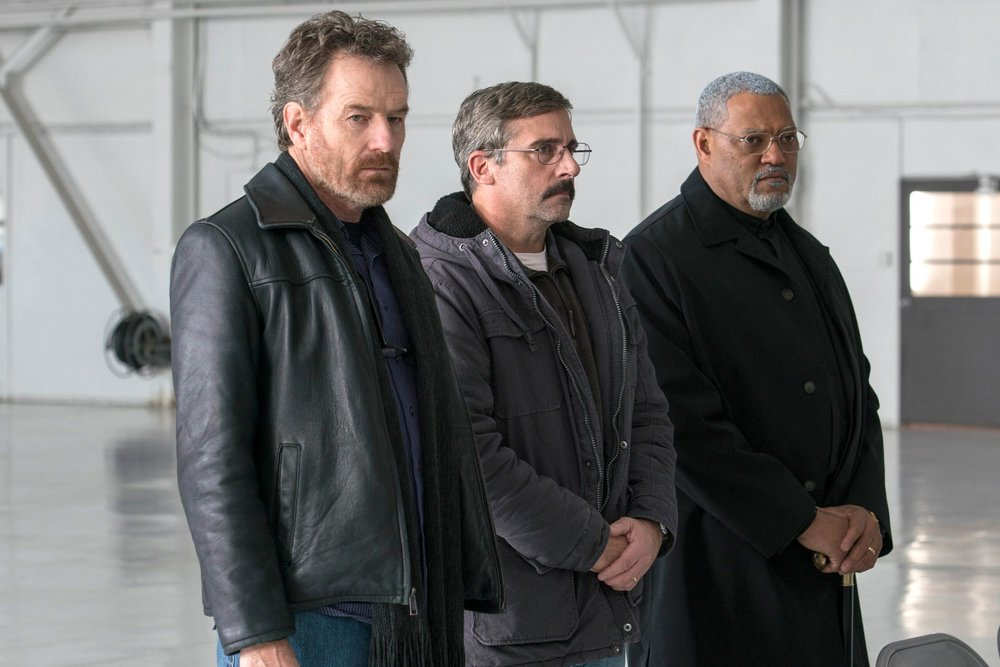 Bryan Cranston, Steve Carell, and Lawrence Fishburne in a scene from Richard Linklater's  Last Flag Flying  {Photo: AMAZON STUDIOS}