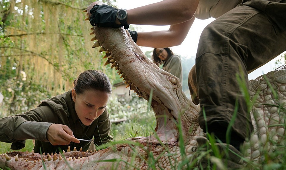 In the alligator's maw: Natalie Portman in a scene from Alex Garland's  Annihilation  {Photo: UNIVERSAL PICTURES}