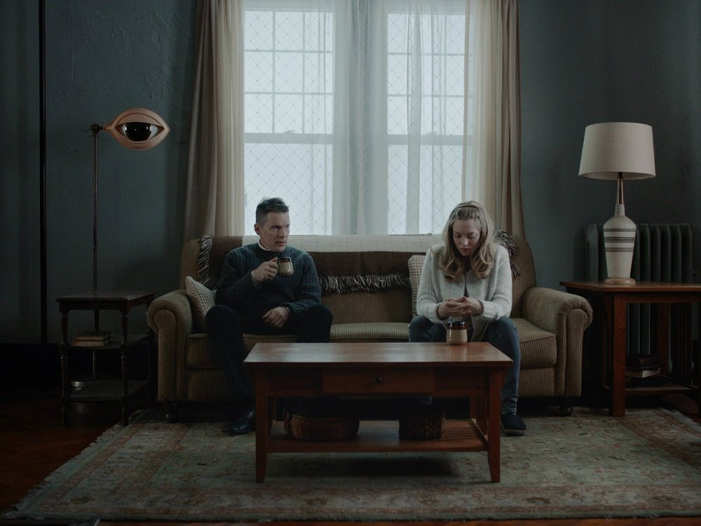 Ethan Hawke and Amanda Seyfried in a scene from Paul Schrader's  First Reformed  {Photo: A24}