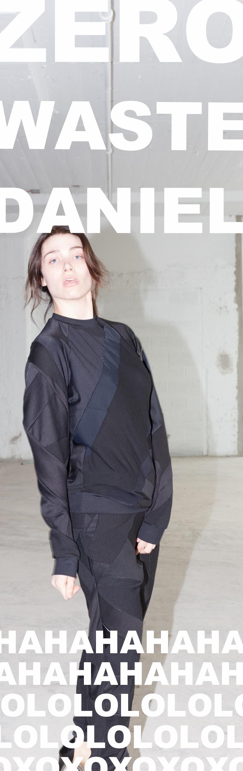 zero waste daniel silverstein sustainable eco fashion black sweatshirt black joggers up-cycled