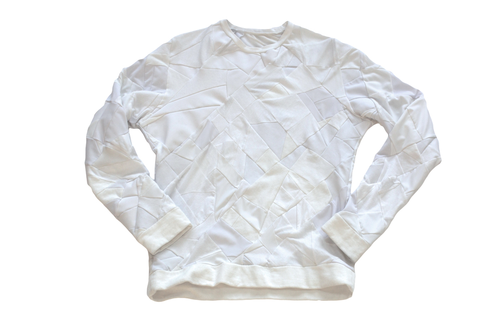 zero waste white sweatshirt eco fashion sustainable fashion daniel silverstein eco fashion