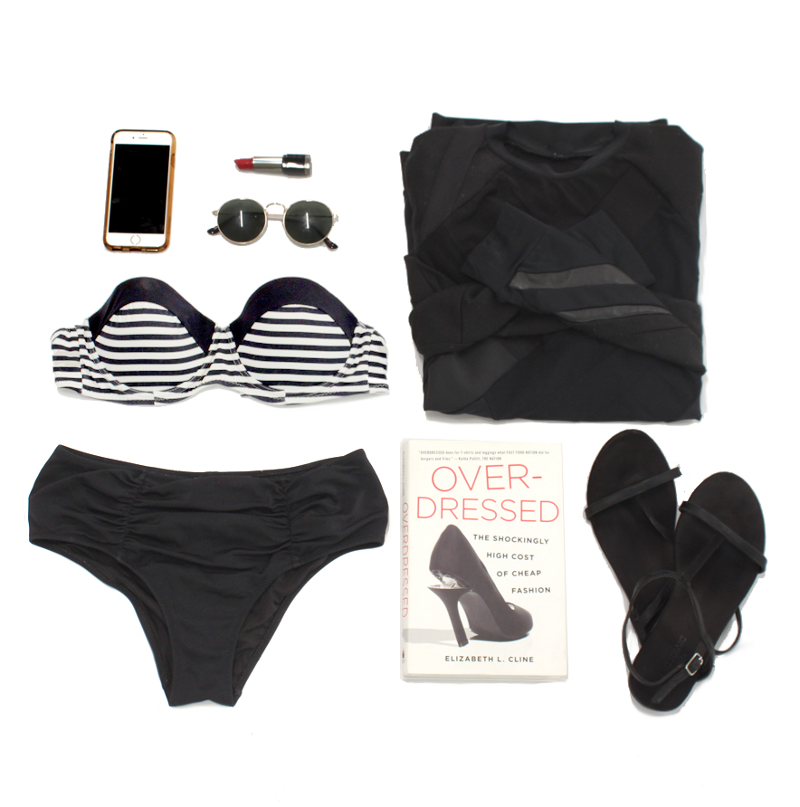work that summer bod, any shape and size, in VITAMIN A black high-waisted swim bottoms, and look smart for the cute life guard reading OVERDRESSED by Elizabeth Cline. your ZWD raglan is the perfect cover up at the pool bar or under your beach cabana!
