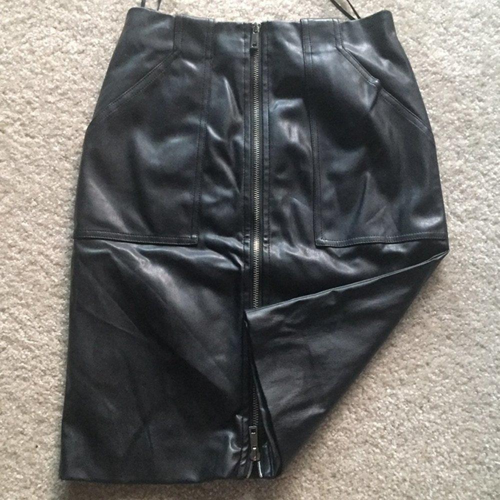 black pleather pencil skirt,  second hand $13.25 on depop