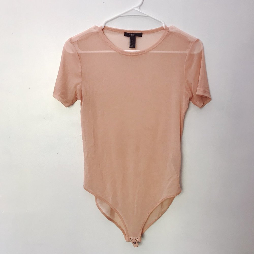 nude mesh bodysuit, second hand on $9 on depop