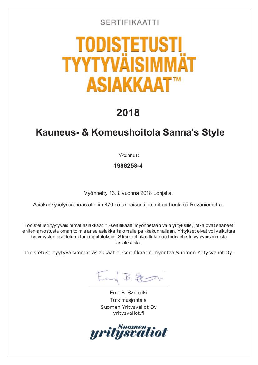 Kauneus- & Komeushoitola Sanna's Style A4-sertifikaatti 2018.jpg