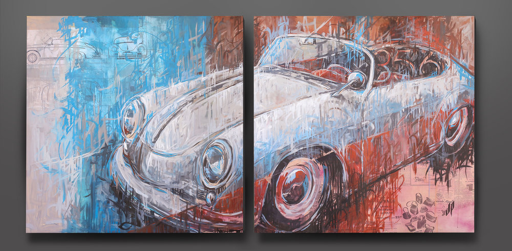 """Spyder""  - Mixed media on two 4' wood panels"