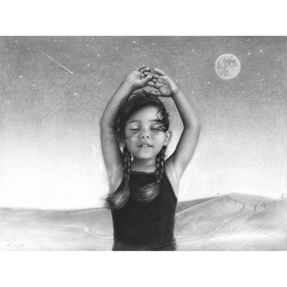 12 in. x 16 in. Original // graphite, charcoal and wax pencil drawing carefully mounted on sealed wood panel. Ready to hang, natural wood edge does not require framing.